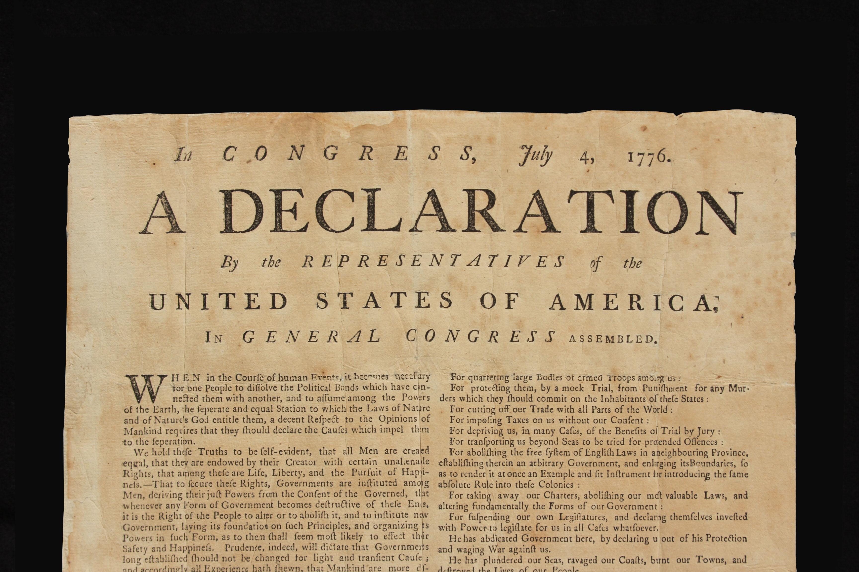 USAs uavhengighetserklæring, svært tidlig kopi