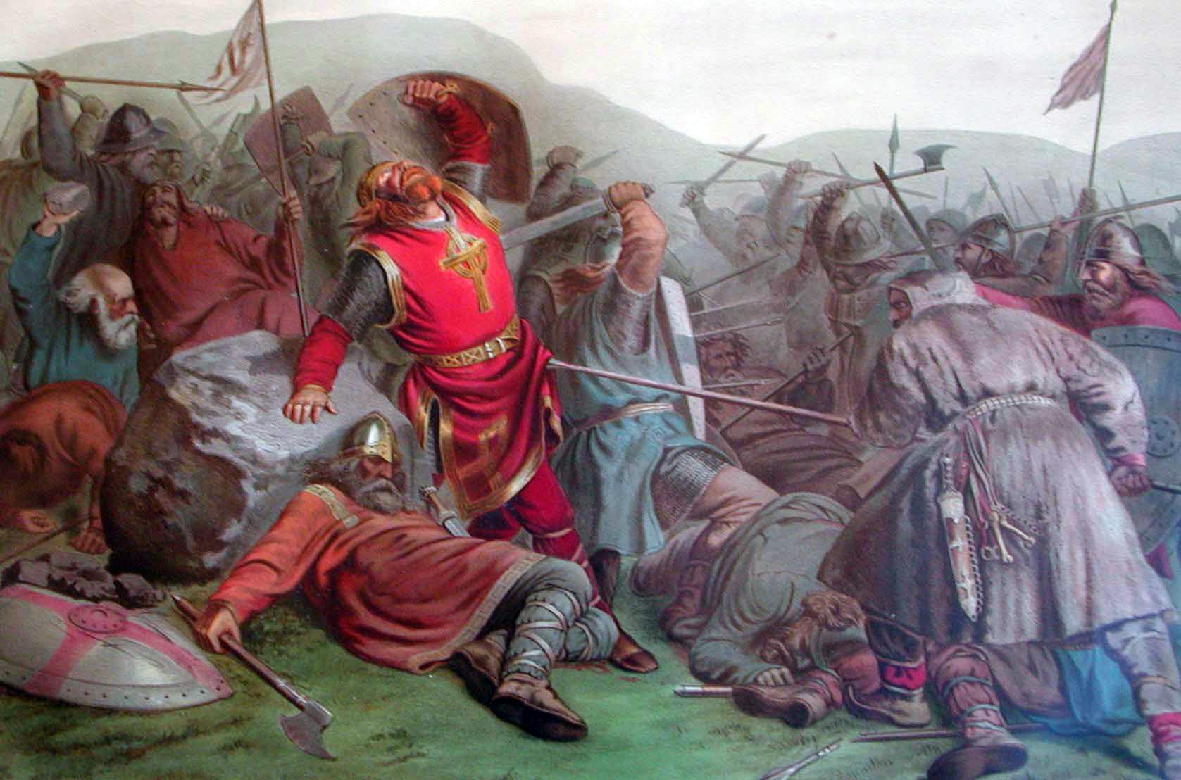 Olav Haraldsson stikkes ihjel på Stiklestad. Slaget markerte starten på kristningen og den sakte slutten på vikingtiden.
