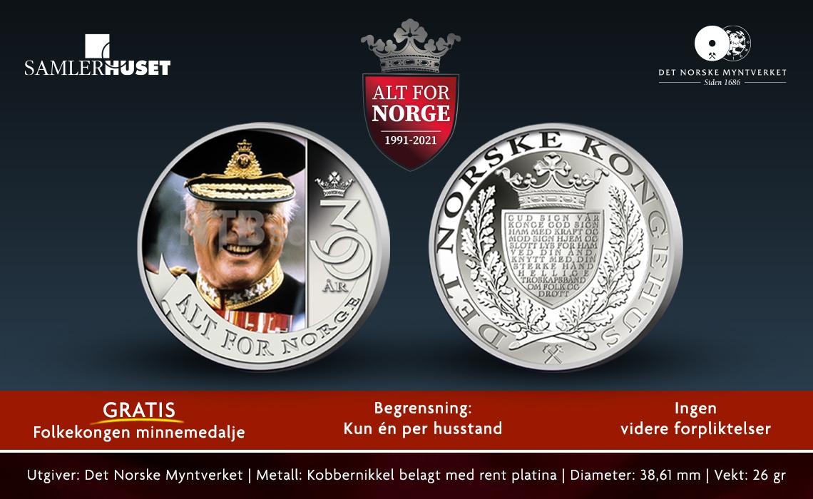 GRATIS minnemedalje for Folkekongen Olav V