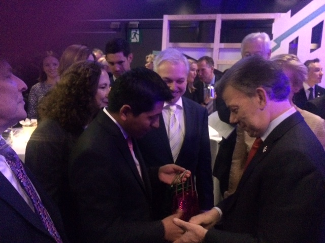 Daniel Riascos og president Juan Manuel Santos