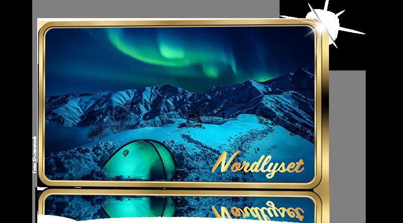 Nordlyset er kåret til Norges flotteste attraksjon og er gjengitt på gullbelagt barre
