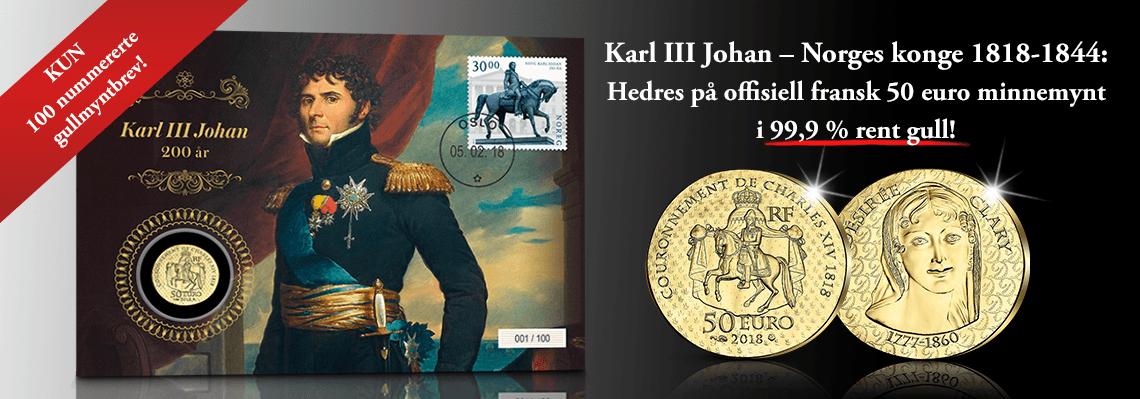 Karl Johan myntbrev med fransk euro minnemynt i gull