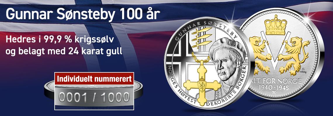 Gunnar Sønsteby hedres minnemedalje i krigssølv belagt med gull