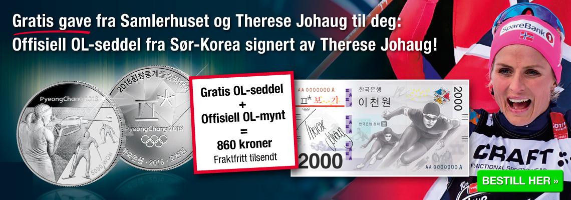 Signert seddel av Therese Johaug