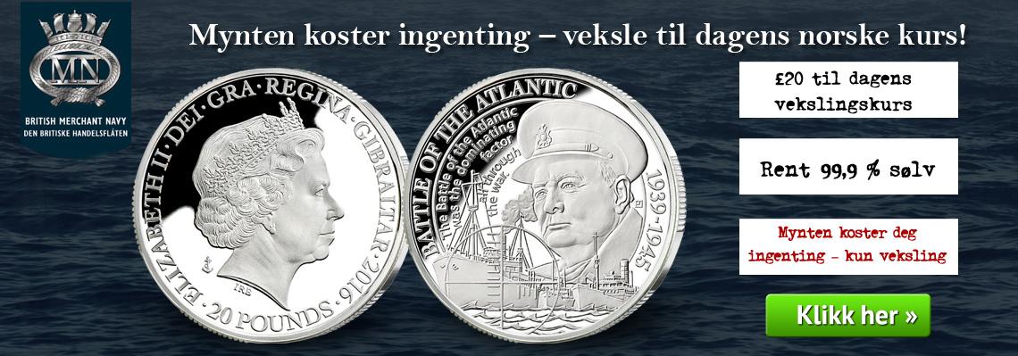 Vekslingsaksjon; £20 for 217 kroner -mynten koster deg ingenting!