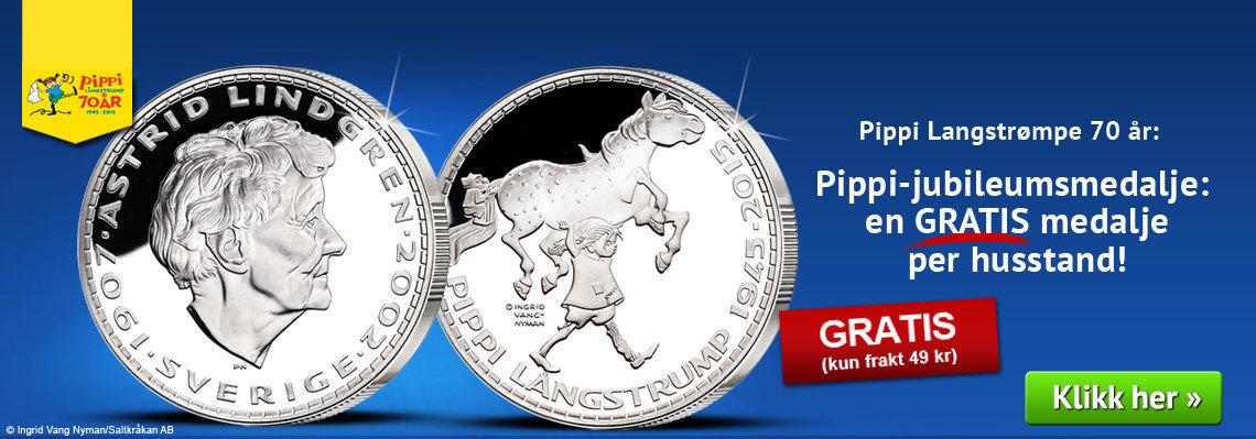Pippi-jubileumsmedalje: en GRATIS medalje per husstand!