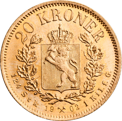 20 kroner utgitt under Oscar II. Gullmynt.