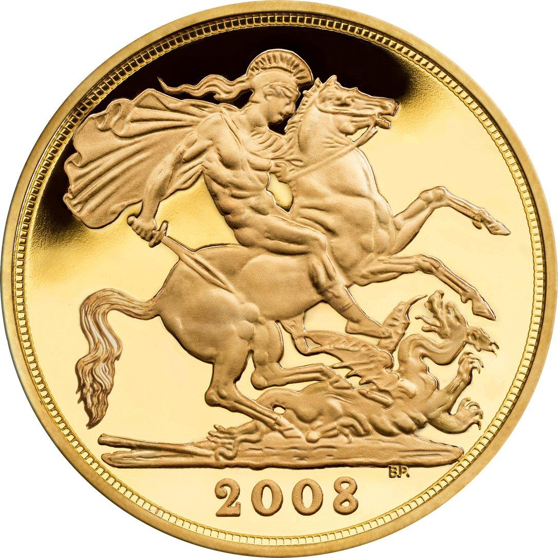 Pistruccis berømte St. Georg og Dragen er bevart på den britiske sovereign-mynten