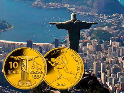 Myntene har naturligvis bilde av Kristusstatuen ved Rio de Janeiro