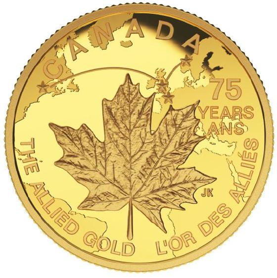 Allied gold-mynten med et lønneblad. Venstre halvdel er et canadisk lønneblad, høyre er et norsk.