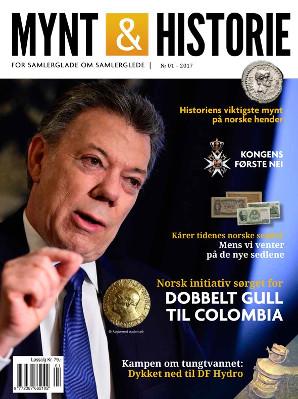Mynt & Historie 1 2017 med tidenes norske sedler, rettferdig gull til Colombia og dykking ned til DF Hydro for å få tungtvann
