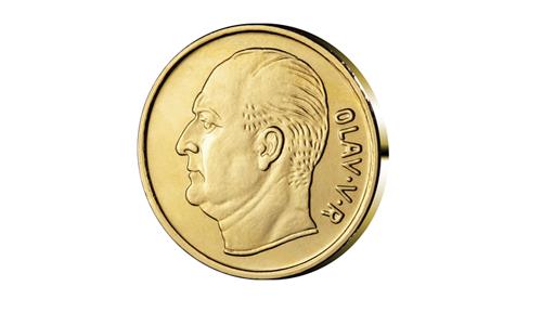 Olav Vs portrett på mynt