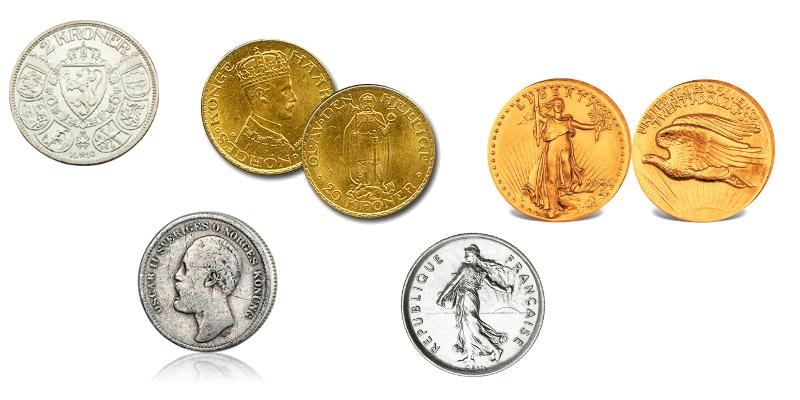 1 kroner 1908, svensk mtnt, 20 kroner 1910