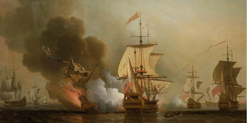 Oljemaleri av Samuel Scott viser sjøkampene utenfor Cartagena i 1708, der skipet San José gikk ned med mann og last.