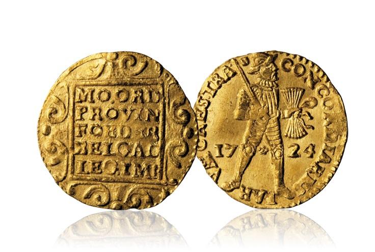 1-dukat fra 1724 i gull fra Rundeskatten