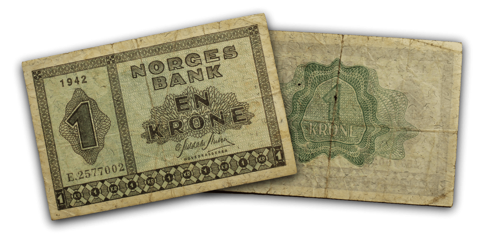 Historisk norsk seddel fra krigen