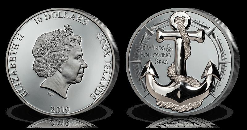 Massiv anker-mynt i 99,9% rent sølv!