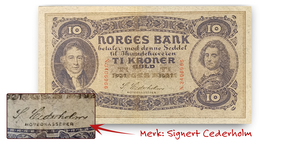 10 kroner med signatur