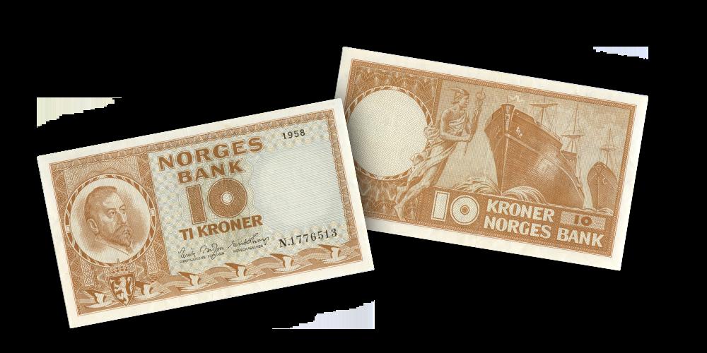 Norges siste 10-kroneseddel med gul farge