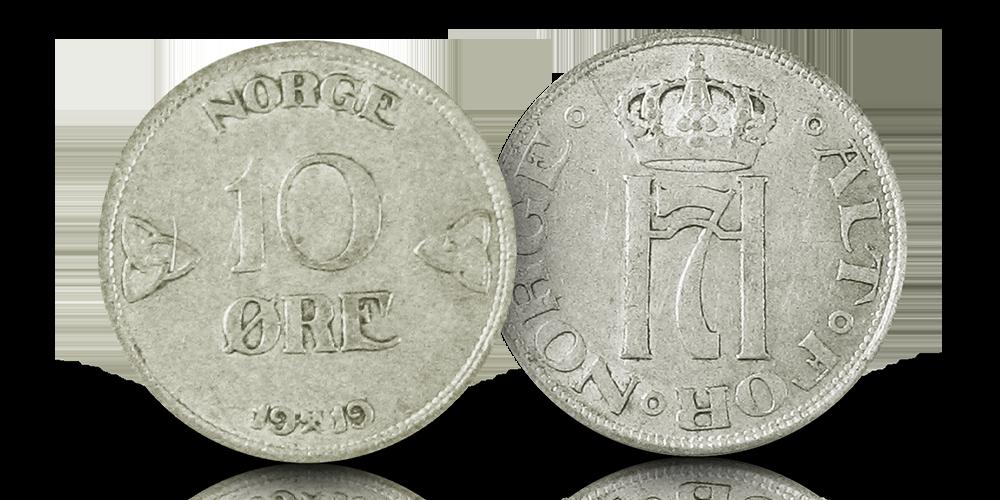 Norges siste 10-øre i sølv fra 1919