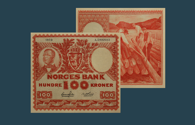 """""""Tømmerfløteren"""" 100 kroner 1949-1962"""