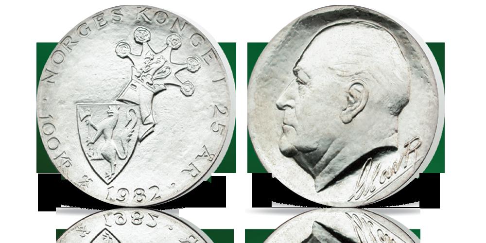100 kr Norges konge 1982