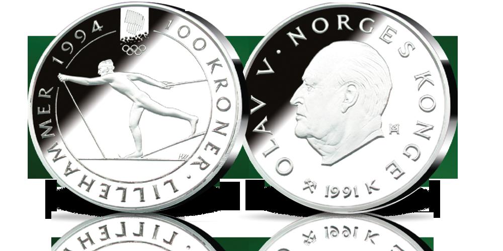 100 kroner 1991 Langrennsløper i sølv