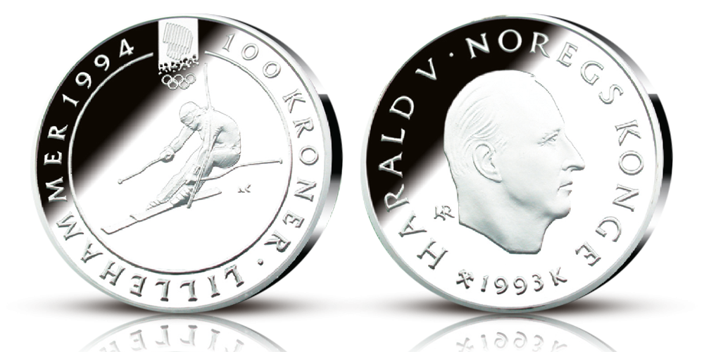 200 kroner sølvmynt OL-mynten Alpinist 1993