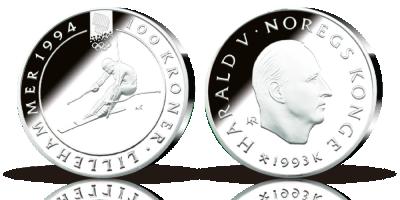 100 kr OL-sølvmynt nr. 5, Alpinist 1993