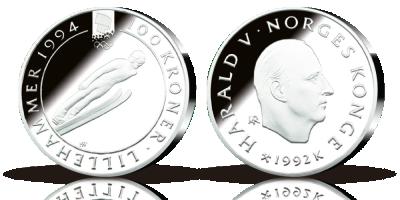 100 kroner OL-sølvmynt nr. 4, Skihopper 1992