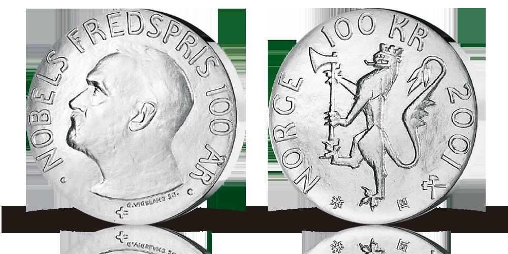 """100 kr sølv """"Nobel Fredspris 100 år"""" 2001"""