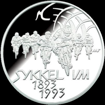 Sykkel VM landeveissykling 1993 revers side av minnemynten