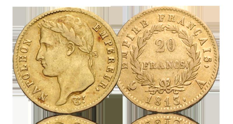 20 franc i gull med motiv av napoleon som kronet keiser