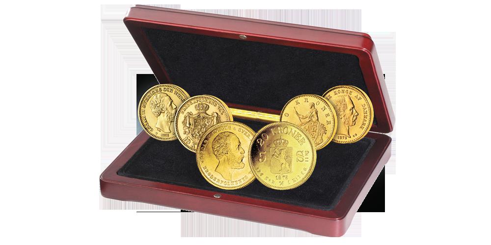 Skandinavias første kronemynt i gull med tre originalmynter - mulighet av de sjeldne!