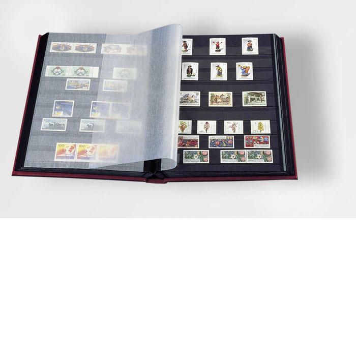 Burgunder frimerkealbum med 32 sorte sider