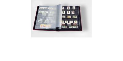 Burgunder frimerkealbum med 64 sorte sider