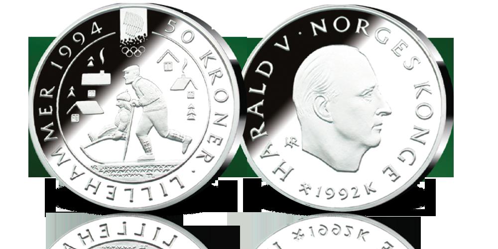 Minnemynt i sølv 50 kroner 1992