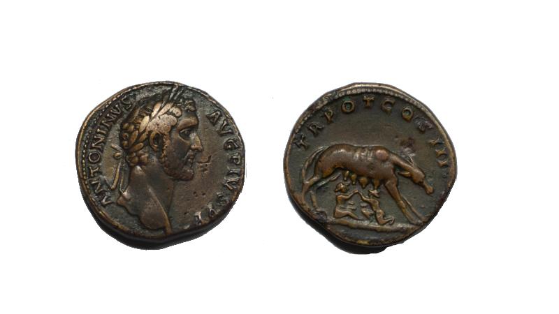 Antoninius Pius sestertius i bronse med Romulus og Remus