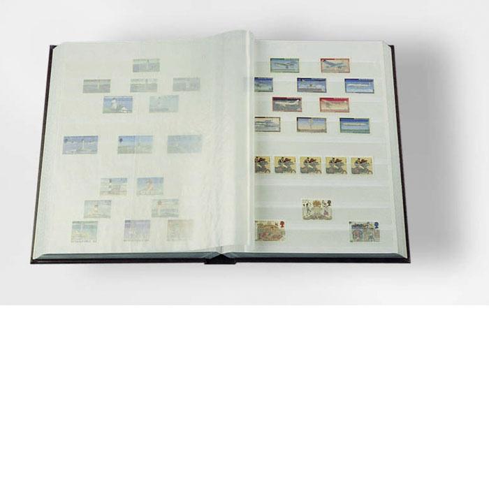 Burgunder frimerkealbum med 32 hvite sider