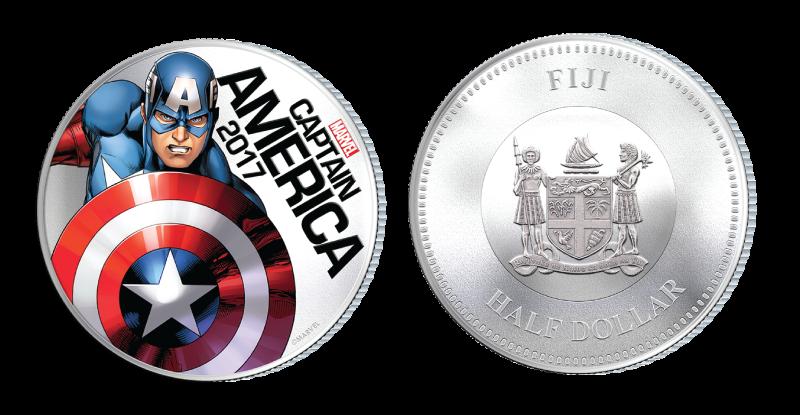 Captain America på mynt belagt med sølv og med innebygd lyseffekt