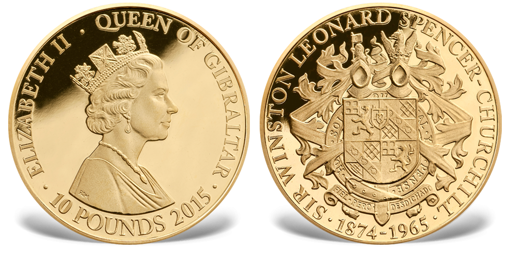 Churchill gullmynt 10 pounds Gibraltar 2015