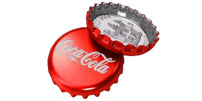 Coca-Cola Bottle Cap 2018, sølvmynt formet som bruskork; Fiji 1 dollar