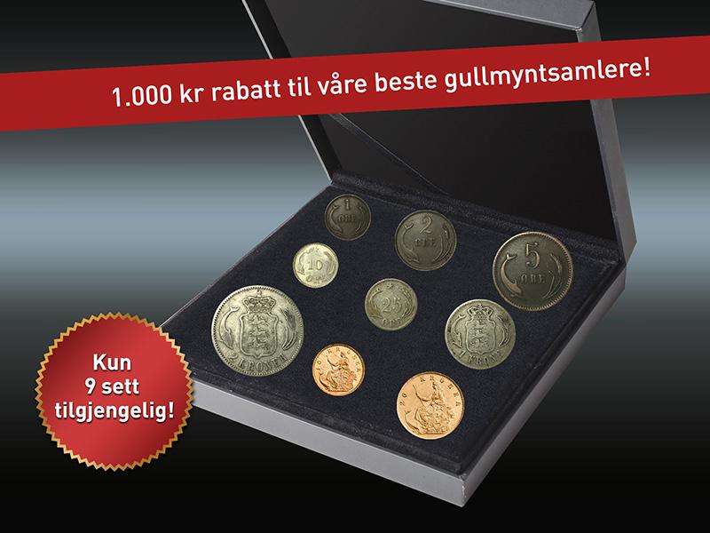 Danmarks første kroner og øre typesett - mulighet av de sjeldne!
