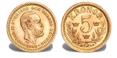 Den skandinaviske myntunion  5 kr 1881-1899