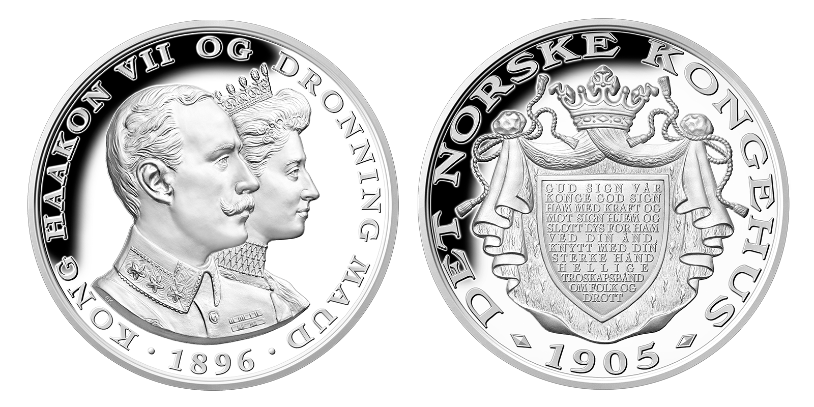 Prestisjemedalje av Haakon VII og Maud i 99,9 % sølv og med detaljrikt dybdepreg