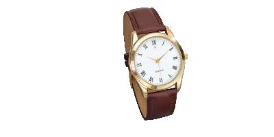 Elegant Quartz klokke med brun skinnrem