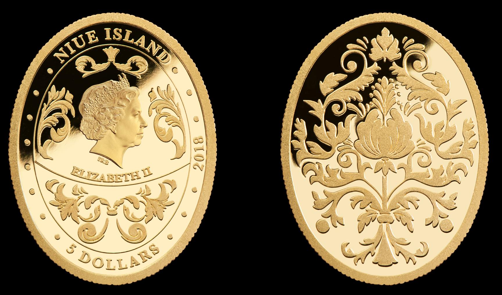 Gullmynt inspirert av Fabergé egg