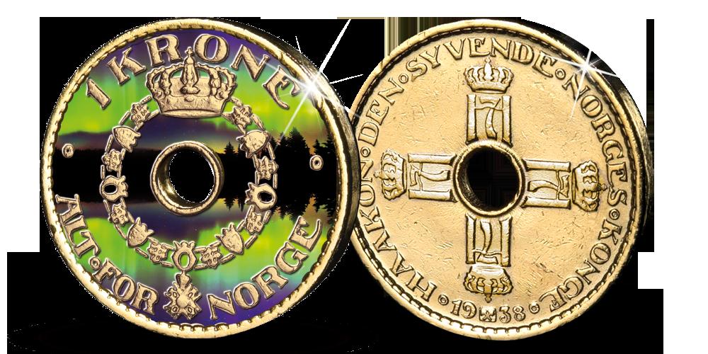 NORGES FØRSTE HULLKRONE - belagt med 24 karat rent gull og fargemotiv!