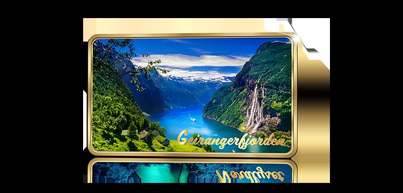 GRATIS GAVE: Gullbelagt samlebarre med motiv av Geirangerfjorden