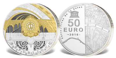Storslått fransk praktmynt belagt med gull og rhodium